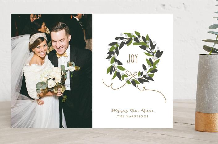 """Magnolia Wreath"" - Flora & Fauna, Elegant New Year Photo Cards in Magnolia by Jennifer Postorino."