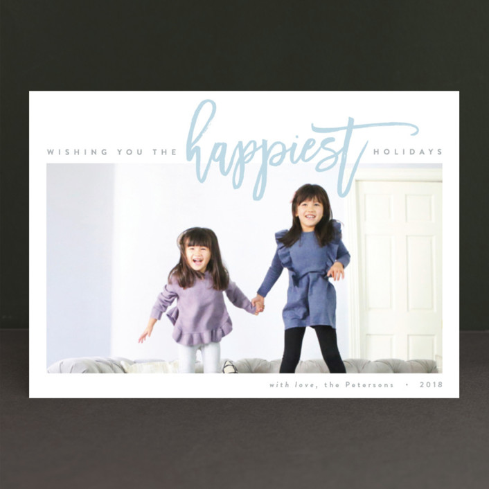 """""""The Happiest Holiday"""" - New Year Photo Cards in Ocean Mist by JoAnn Jinks."""