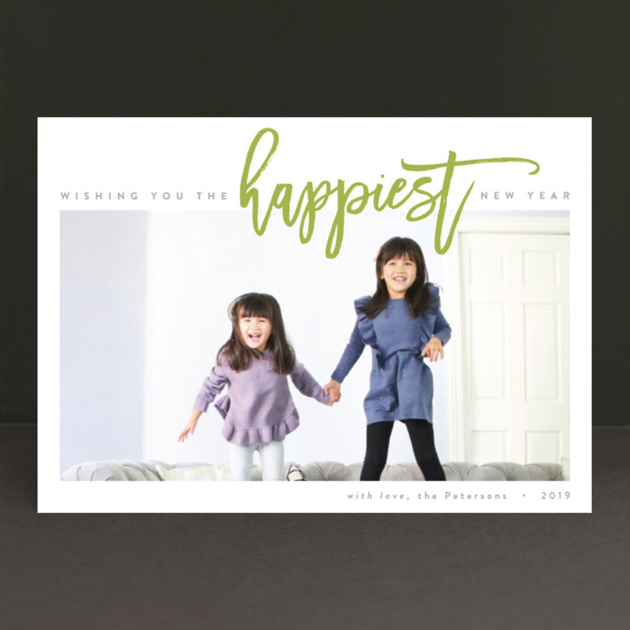 """The Happiest Holiday"" - Bold typographic, Modern New Year Photo Cards in Berry Red by JoAnn Jinks."
