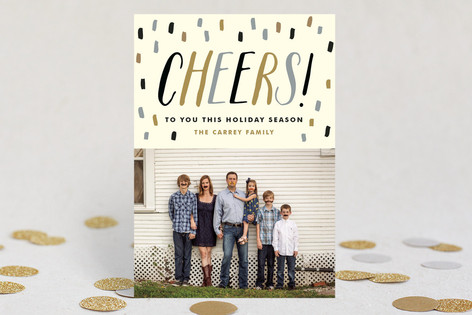 Confetti Cheers New Year Photo Cards