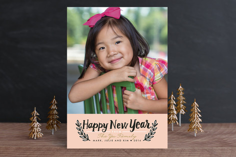 Simple Branches New Year Photo Cards