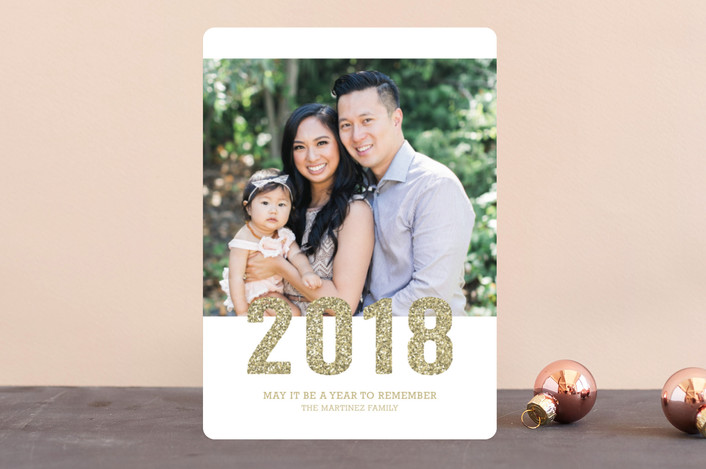 """""""Sparkling"""" - New Year Photo Cards in Gold by Sarah Wrede."""