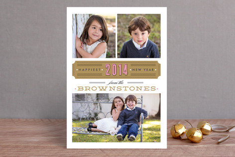 Vintage Ticket New Year Photo Cards