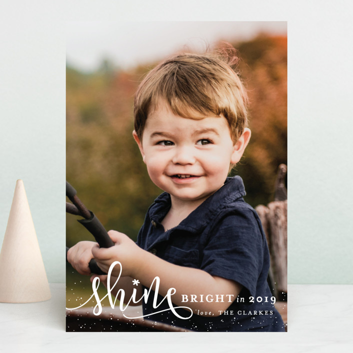 """Shine Bright"" - New Year Photo Cards in Snow by Shirley Lin Schneider."
