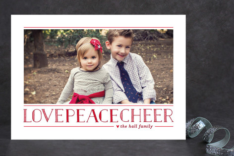 Love Peace Cheer New Year Photo Cards