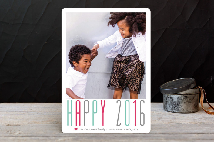 """A Whole Lot of Joy"" - Typography, Bold typographic New Year Photo Cards in Teal by Lizzy McGinn."