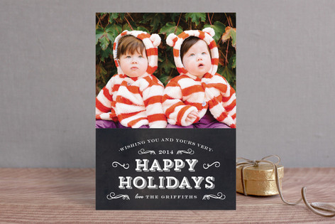 Chalkboard Flourish New Year Photo Cards