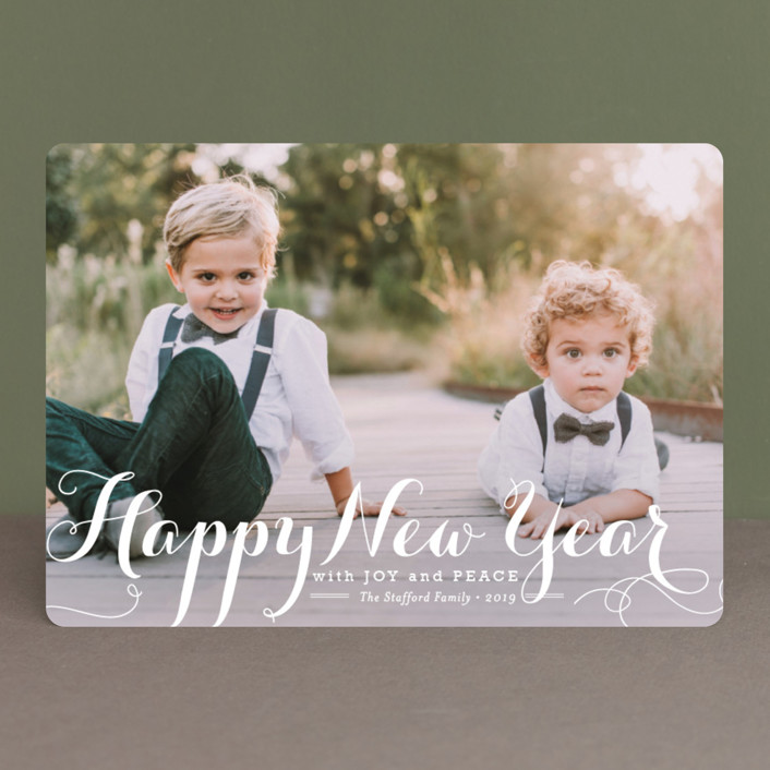 """""""Spirit of Christmas"""" - Elegant, Full-Bleed Photo New Year Photo Cards in Snow by Design Lotus."""