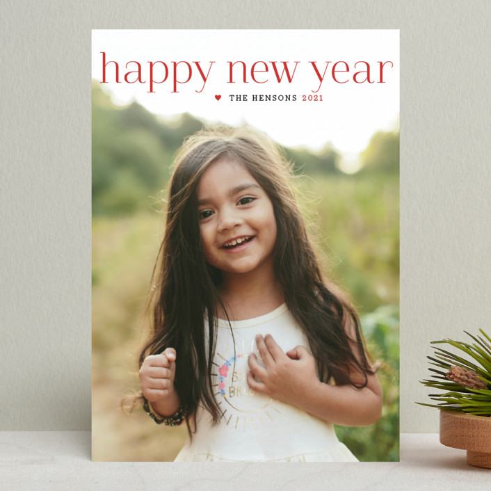 """Timeless Greeting"" - New Year Photo Cards in Holly Berry by Alston Wise."