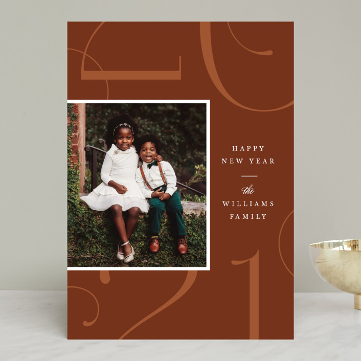 """""""Park Place"""" - New Year Photo Cards in Toffee by Robert and Stella."""