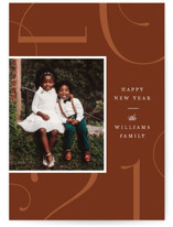This is a brown new year photo card by Robert and Stella called Park Place with standard printing on smooth signature in standard.