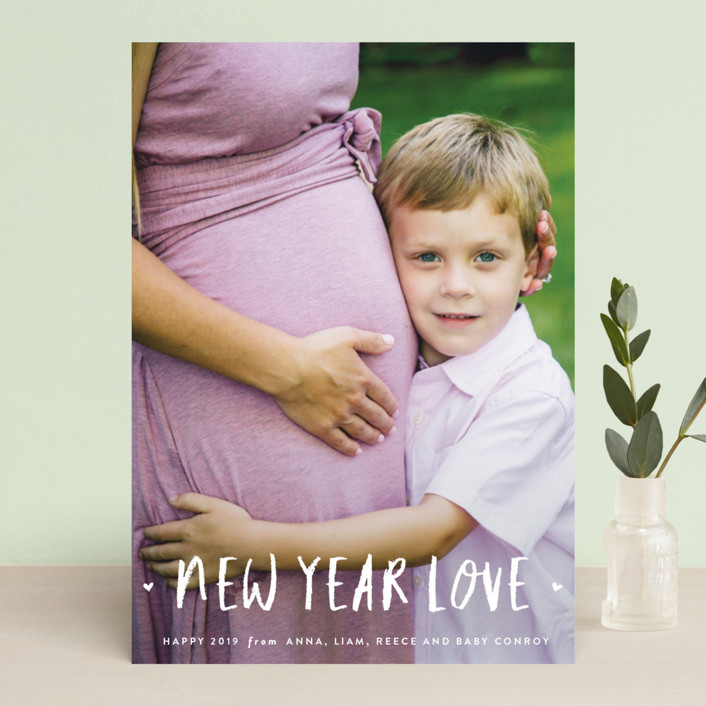 """love in the new year"" - New Year Photo Cards in Snowfall by Sara Hicks Malone."