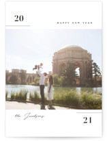 This is a black new year photo card by Michelle Taylor called Distinct with standard printing on signature in standard.