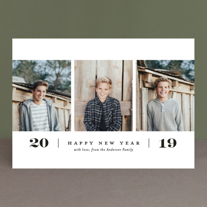 """Simple. New. Year."" - New Year Photo Cards in Tuxedo by Paper and Parcel."