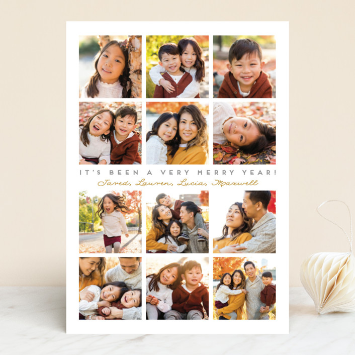 """""""A Very Merry Year"""" - New Year Photo Cards in Silver Bell by Leah Bisch."""