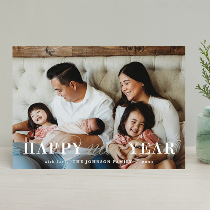 """Sparkling New"" - New Year Photo Cards in Gold by Chasity Smith."
