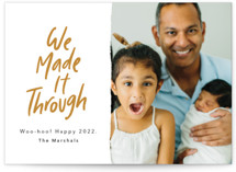 This is a yellow new year photo card by Kelsey Mucci called We Made It! with standard printing on smooth signature in standard.