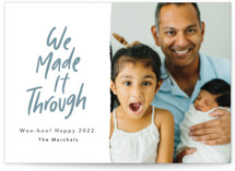 This is a green new year photo card by Kelsey Mucci called We Made It! with standard printing on smooth signature in standard.