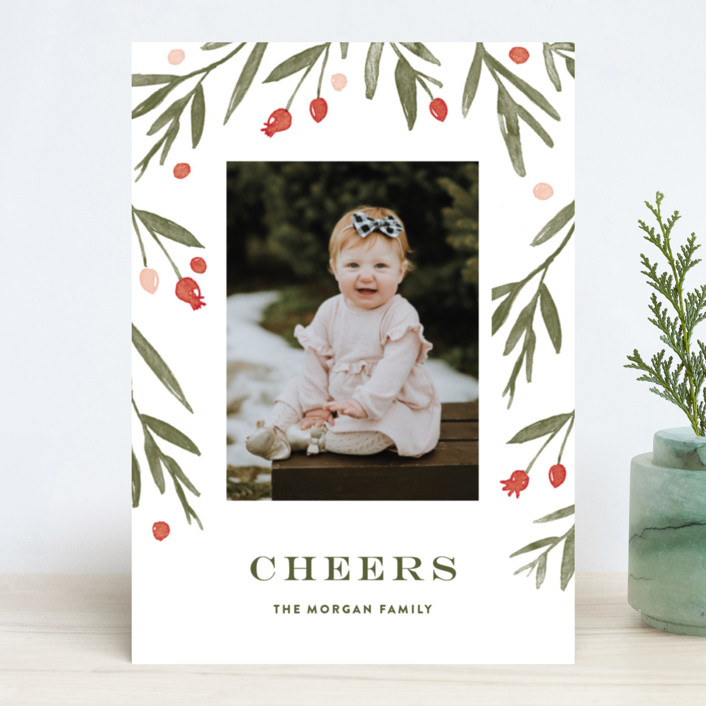 """Winter Harvest"" - Flora & Fauna, Floral & Botanical New Year Photo Cards in Berry Red by Oscar & Emma."