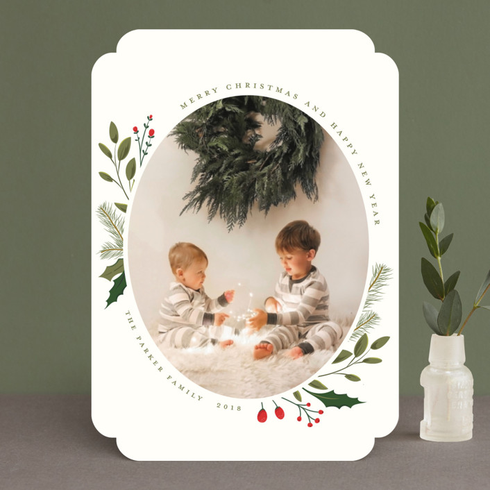 """Christmas Sprigs"" - New Year Photo Cards in Crimson by Susan Moyal."