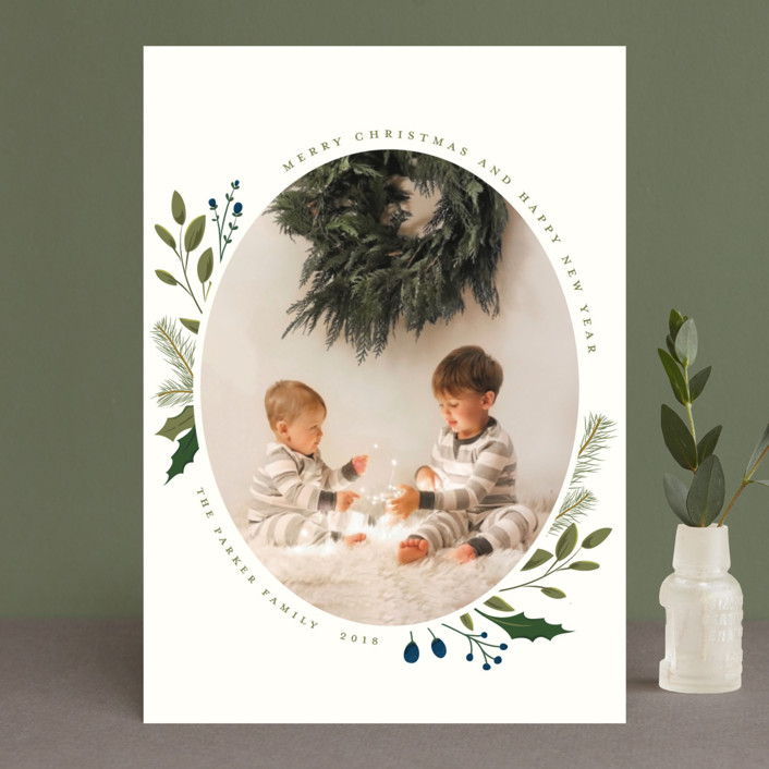 """Christmas Sprigs"" - New Year Photo Cards in Blueberry by Susan Moyal."