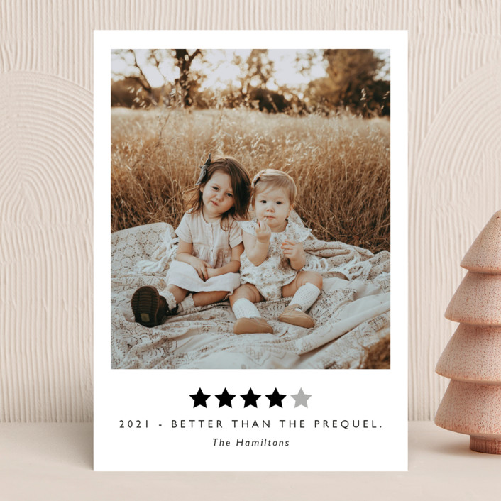 """""""Rating 2020"""" - Funny New Year Photo Cards in Snow by Hudson Meet Rose."""