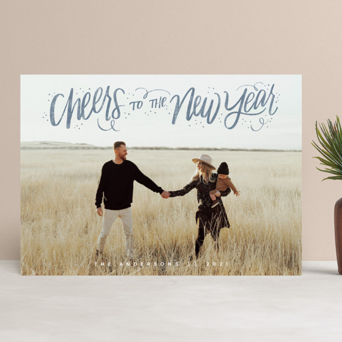 """""""Cheerful Lettering"""" - Bohemian New Year Photo Cards in Frost by Cindy Reynolds."""