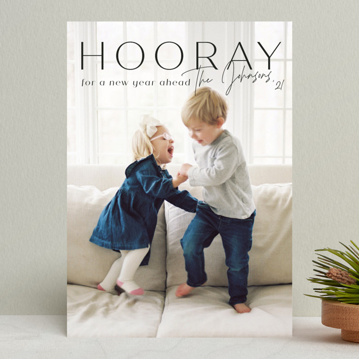 """""""hooray for a new year"""" - New Year Photo Cards in Licorice by Rebecca Durflinger."""