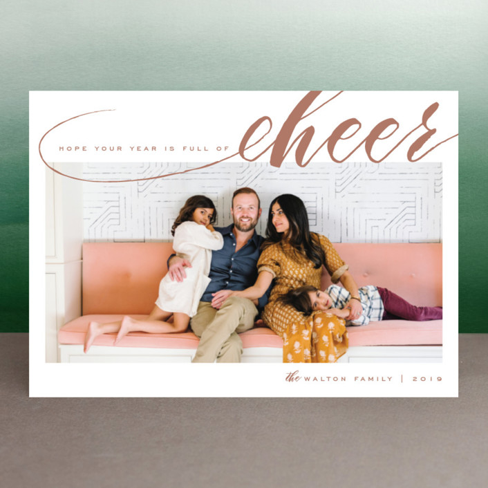 """Year of Cheer"" - Elegant New Year Photo Cards in Hot Cocoa by Leah Bisch."