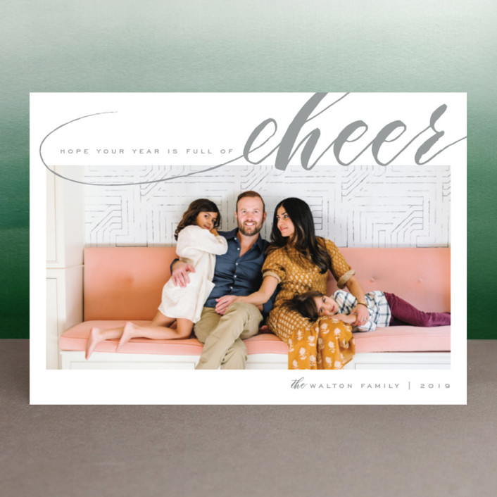 """""""Year of Cheer"""" - Elegant New Year Photo Cards in Hot Cocoa by Leah Bisch."""