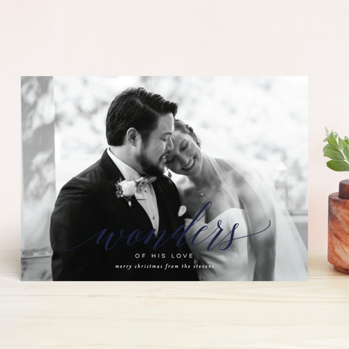 """Wonder"" - New Year Photo Cards in Navy by Lori Wemple."