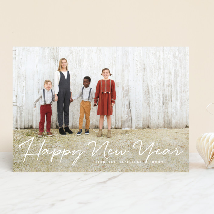 """Praise be to God"" - Elegant, Full-Bleed Photo New Year Photo Cards in Icing by Design Lotus."