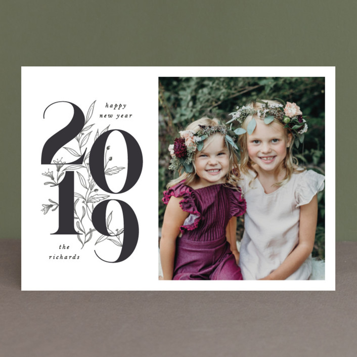 """Pencilled Florals"" - New Year Photo Cards in Onyx by Grae Sales."