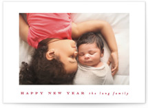 This is a red new year photo card by Angela Thompson called a happy year with standard printing on smooth signature in standard.
