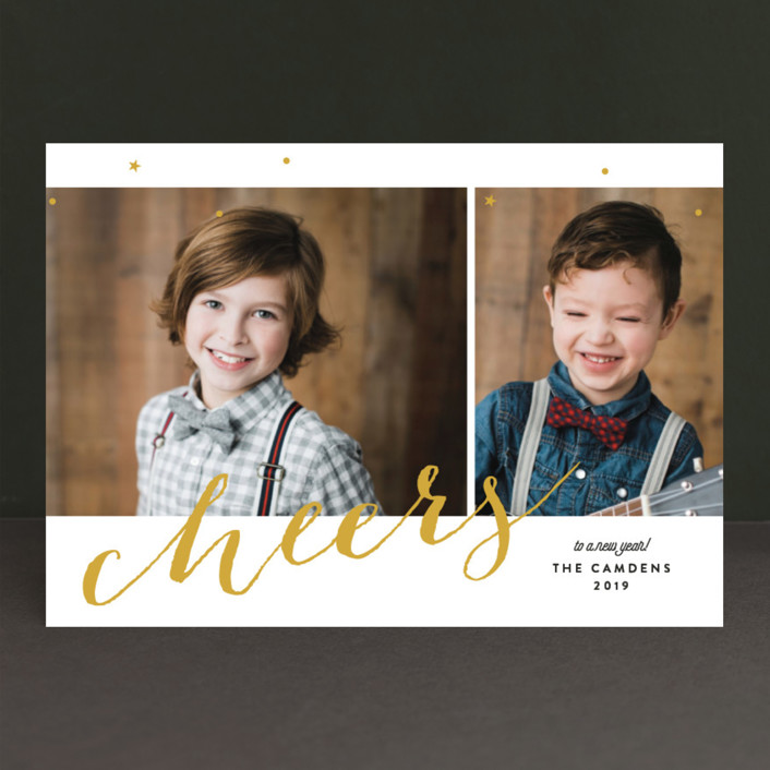 """Cheers Day"" - New Year Photo Cards in Golden by Ana Sharpe."
