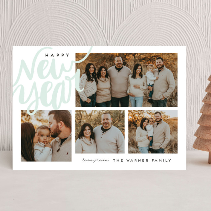 """""""Corner Script"""" - Bohemian New Year Photo Cards in Sky by Alethea and Ruth."""