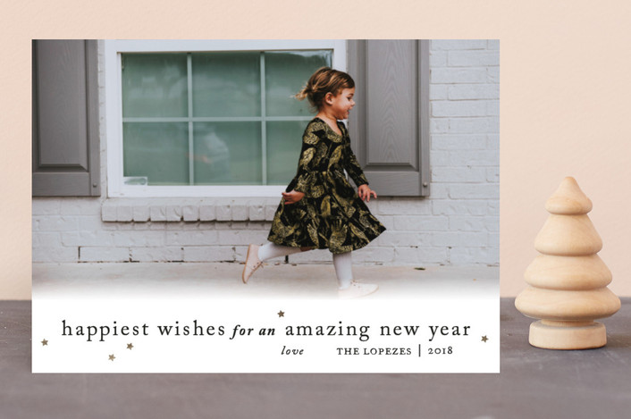 """""""Happiest Wishes to You"""" - Minimalist New Year Photo Cards in Gold Leaf by Ellis."""