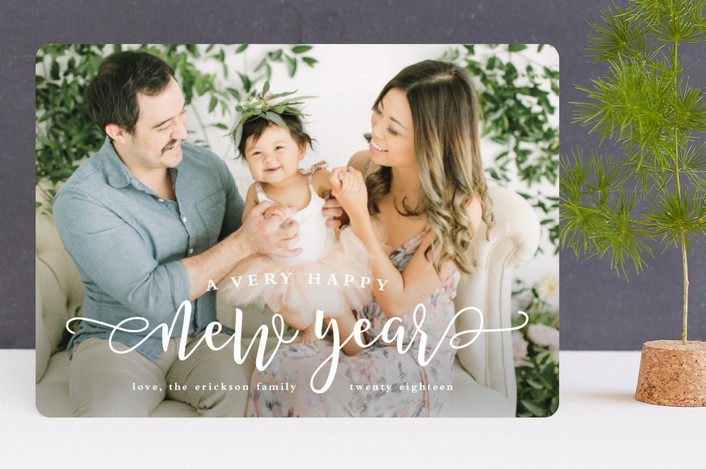 """Very happy"" - New Year Photo Cards in Snow by Lea Delaveris."