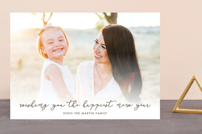 """""""The Happiest New Year"""" - New Year Photo Cards in Cocoa by Loren Willis."""