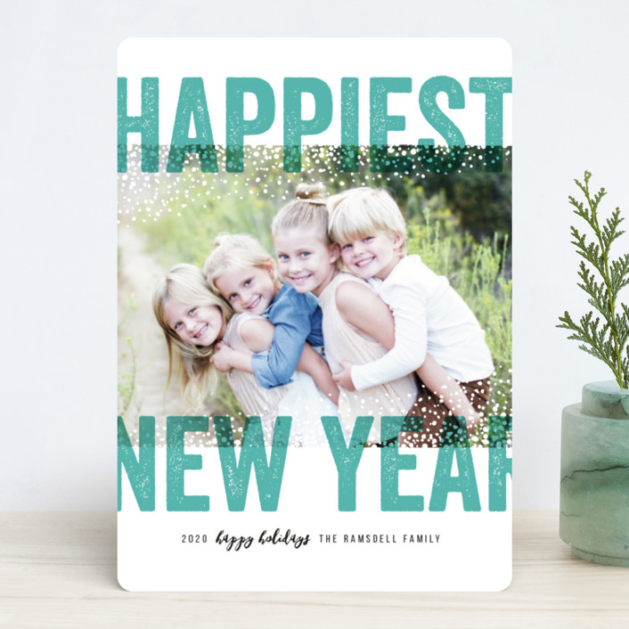 """Bold Snow"" - Editor's Picks New Year Photo Cards in Aqua by Michelle Taylor."