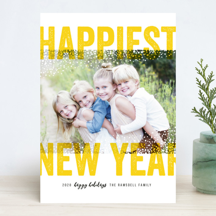 """Bold Snow"" - New Year Photo Cards in Aqua by Michelle Taylor."
