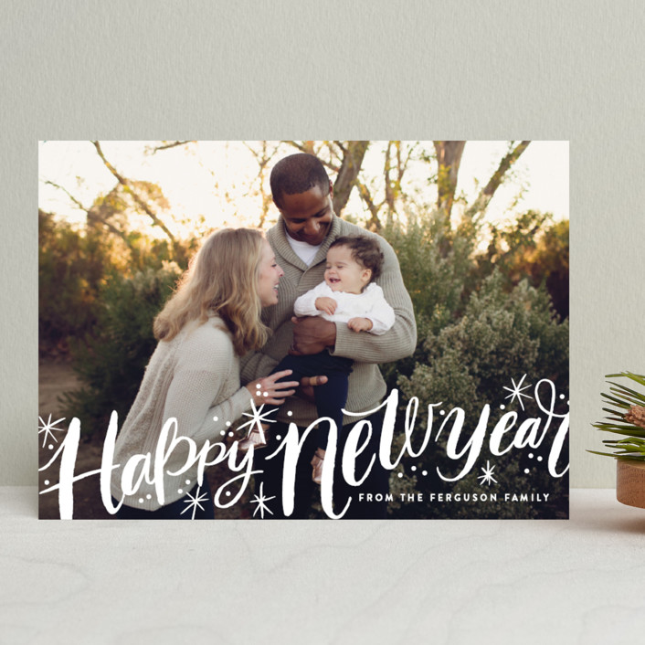 """""""Merry Christmas Sparkle Snow"""" - Bold typographic, Full-Bleed Photo New Year Photo Cards in Snow by Alethea and Ruth."""