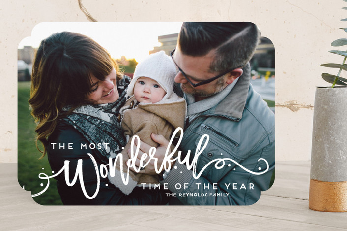 """The Most Wonderful"" - Bold typographic, Full-Bleed Photo New Year Photo Cards in Snowflake by GeekInk Design."