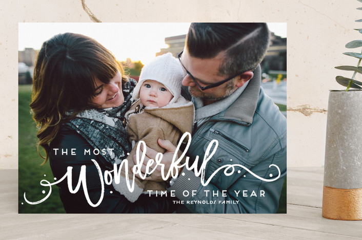 """""""The Most Wonderful"""" - Bold typographic, Full-Bleed Photo New Year Photo Cards in Snowflake by GeekInk Design."""