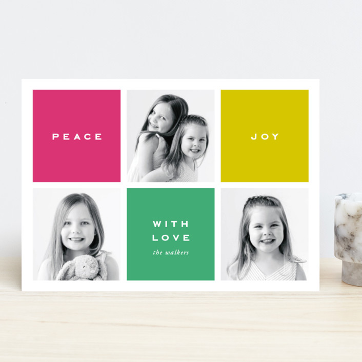 """Preppy Blocks"" - New Year Photo Cards in Jade by Oscar & Emma."