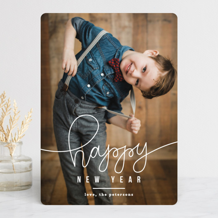 """HAPPY"" - New Year Photo Cards in Golden by Up Up Creative."