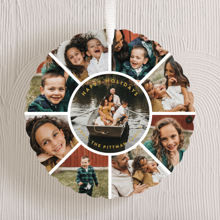 """Family Circle Holiday"" - Holiday Ornament Cards in Goldenrod by Guess What Design Studio."