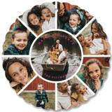 This is a purple holiday card ornament by Guess What Design Studio called Family Circle Holiday with standard printing on smooth signature in ornament.