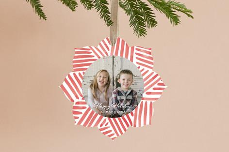 Festive Stripes Holiday Ornament Cards
