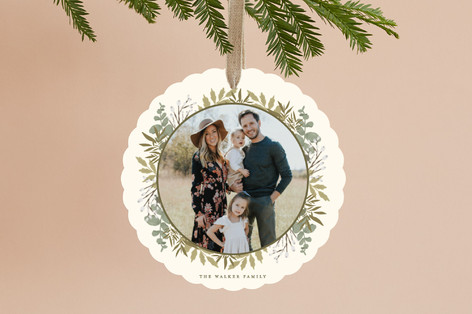 Gilded Woodland Frame Holiday Ornament Cards